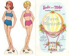 VINTG 1965 BARBIE Midge Travel WARDROBE PAPER DOLL RARE UNCT LASR REPRODUCION FR