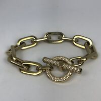 MICHAEL KORS Womens Gold Toggle Chunky Cityscape Chain Bracelet Crystal Pave
