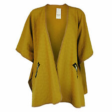 LADIES VINTAGE STYLE CAPE JACKET WRAP EMBOSSED ZIP POCKETS MUSTARD RED BLACK