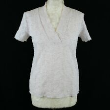 Ladies Top UK 10 12 Daxon Nude Pink Floral Lace Embroidered V-Neck Low Cut