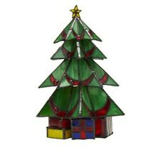"""Tiffany-Style Stained Glass Christmas Tree 10"""" Accent Lamp"""