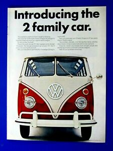 1966 Volkswagen Bus The 2 Family Car Original Print Ad 8.5 x 11""