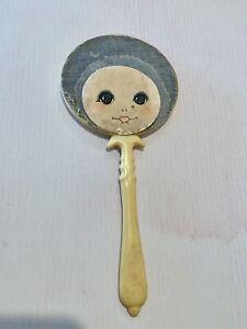 Vintage  Bakelite / Celluloid Dolls Face Hand Mirror