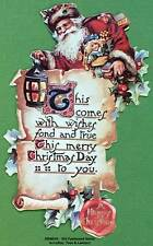 Victorian Christmas Ornament Old Fashoined Santa with Letter