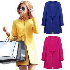 Women Peacoat Wool Blend Coat Jacket Parka Slim Trench Solid Cardigan Outwear k