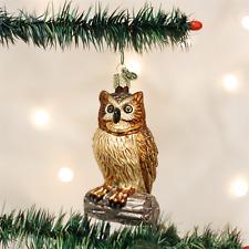 OLD WORLD CHRISTMAS WISE OLD OWL BIRD WISDOM GLASS CHRISTMAS ORNAMENT 16019