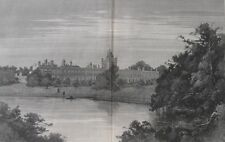 1885 Large Antique Engravings- FINE ENGLISH ESTATES - Knowsley & Penshurst Place