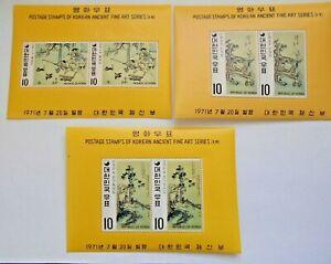 Korea 1971-MNH S/S- Sc # 787a-789a-Korean Ancient Fine Art-Paintings