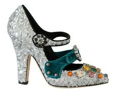 DOLCE & GABBANA Shoes Silver Sequined Crystal Mary Janes EU38 / US7.5 RRP $1500
