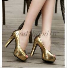 Plus Size Chic Womesn High Heels Open Toe Pumps Platform Shiny Date Party Shoes