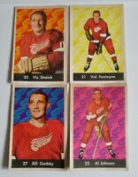 "1961-62 PARKHURST HOCKEY CARDS - 4 Players from ""61 DETROIT RED WINGS"