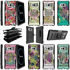 For Samsung Galaxy Note 8 Rugged Dual Layer + Stand Holster Clip Case - Flowers
