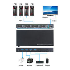HDMI 2.0 KVM Switch 4-Port Host 4*1 Switcher Mouse Keyboard USB Sharer + 4 Cable