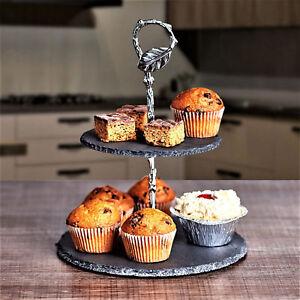 2 Tier Natural Slate Mini Cake Stand Afternoon Tea Wedding Plates Tableware
