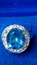 CR SAPPHIRE & WHITE TOPAZ OVAL STONE SILVER  RING SIZE P.5  NEW + BOX