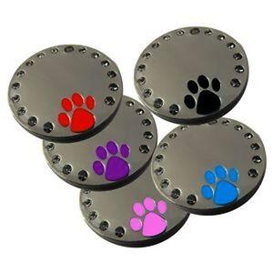Round Glitter Crystal Diamante Pet Id Dog tag 30mm Melian Free Engraving No 6
