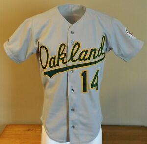 1987 Tony Bernazard (Set 1) Game Worn Oakland A's Road Jersey #14 - Size 42