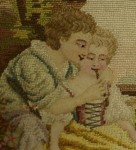 Divine PAIR Antique French Hand Worked Needlepoint / Tapestry Panels, Seat Backs