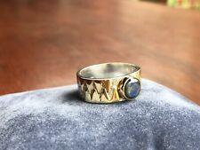 Sterling Silber Ring 925 18K Gold Labradorit Edelstein blau modernist Schmuck