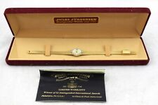 JULES JURGENSEN Vintage Gold Plated Tone Diamond Watch & Original Box Model 510