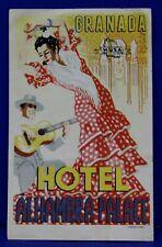 Vintage Hotel Alhambra Palace Grenada Spain Luggage Label