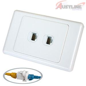 RJ45 Cat6 2Port Wall Plate 2Gang Network LAN coupler F/FJack Cw2C6ff