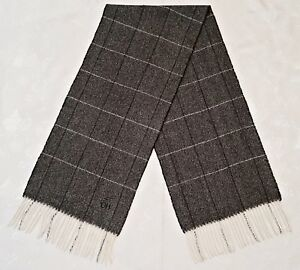VINTAGE AUTHENTIC DANIEL HECHTER PLAIDS & CHECKS WOOL LONG MEN'S FRINGE SCARF