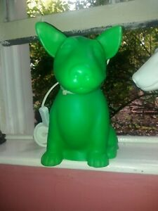 Vintage Retro GREEN Onion Dog Bull Terrier Lamp~SkK/Heico~Soft Night Light~RARE!