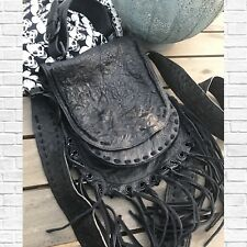 NWOT Thomas Wylde Black Leather Fringed  Crossbody Bag Purse