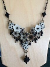Flower Floral Black Brown White Necklace Bib Beaded Beads Adjustable
