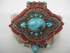Sterling Silver Gau Locket ~ Incredible XLG turquoise coral pendant, unique