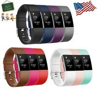10 Pack Silicone Wristband Replacement For Fitbit Charge 2 Band Fitness Large