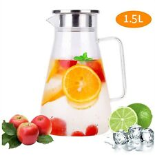 1,5L Glas Wasserkaraffe Wasserkrug Kühlkaraffe Saft 1800ML Glaskaraffe Deckel DE