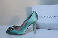 "New sz 6 / 36.5 Manolo Blahnik Mint Hangisi Brooch Toe Jewel 4"" Heel Pump Shoes"