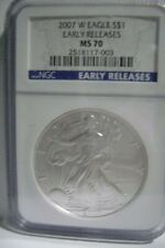 2007 W Burnished Silver Eagle S$1 NGC MS70 Early Releases, West Point Mint
