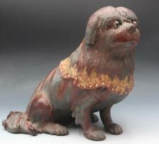 Rare Antique Japanese Terracotta Pekingese Dog w/ Glass Eyes Mop Inlay As Is
