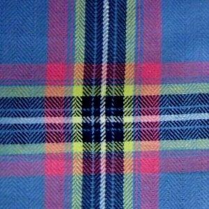 Blue Pink Cotton Plaid Pocket Square