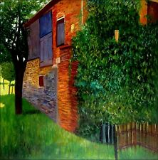 Gustav Klimt Farmhouse in Kammer Repro Quality Hand Painted Oil Painting 36x36in