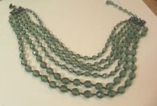 """Miriam Haskell Green Glass 6 Strand Necklace 15"""" - 18"""" AWESOME"""