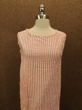Madmen Vtg 1960s NOS Pink & White Striped TEXTURED COTTON SHIFT DRESS Sm/10/12