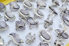 FREE Wholesale Bulk 5pcs CZ rhinestone Purple shell gemstone Silver tone Rings