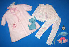 Vintage Skipper Dreamtime #1909 Pajamas & Pink Robe Blue Cat Slippers Clock 1964