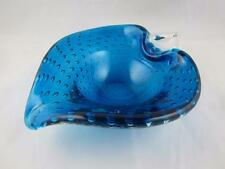 Murano Style Studio Art Glass Cobalt Peacock Deep Blue Bowl w/Controlled Bubbles
