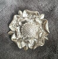 vintage signed MIRACLE flower head brooch pin silver tone