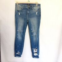 Forever 21 High Waist Jeans Denim Stretch Distressed Ripped Size 29 Medium Wash
