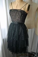 WILLIAM FOX Black Chantilly Lace Cocktail Dress 60s