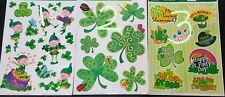 3 Sheets Happy St Patrick's Day Leprechaun Shamrock Reusable Vinyl Window Clings
