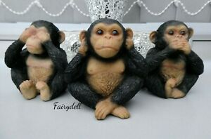 3 WISE CHIMPS MONKEYS SEE, HEAR, SPEAK NO EVIL  FIGURINE ORNAMENT