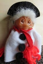 "NORFIN Troll Doll by Dam 3"" Red Hair Amber Upturned Eyes 1985 Christmas Snowma"