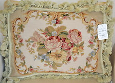 """14""""x 18"""" French Country Style Handmade Petite Point Needlepoint Pillow WM-60"""